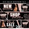 Rose Gold Web Banners, Hair Lash Beauty Makeup Website Slider Banner Template, Glitter Website Store Category banner set, Web Design Kit