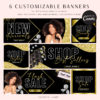 Gold Glitter Web Banners, Web Design Kit, Hair Lash Beauty Makeup Website Slider Banner Template, Website Store Category banner set