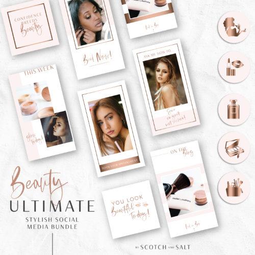 BEAUTY Instagram Story Highlights Icons BUNDLE, Makeup Artist Rose Gold Instagram Story Template, Instagram Highlights, Beauty, Lifestyle