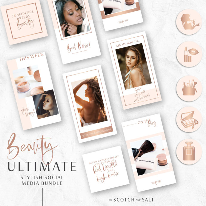 71 BEAUTY Instagram Story Highlights Icons BUNDLE, Makeup Artist Rose Gold Instagram Story Template, Instagram Highlights, Beauty, Lifestyle