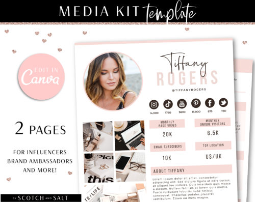 Media Kit Template Canva, Blogger Media Kit, Blog Rate Sheet, Press Kit, Instagram Rate Card for Influencer, Influencer TikTok Media Kit