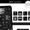 App Icons IOS 14 App Covers, IOS 14 Widgets, Black Silver Glitter Icons, Aesthetic iPhone Home Screen, IOS14 App Icon Pack