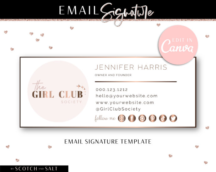 Canva Email template, Professional Email signature template, Easy Editable Email Signature Template with Generator, Clickable Gmail Signtuare