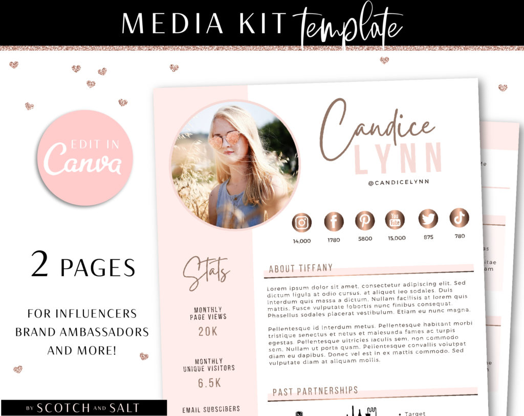 Influencer Media Kit Template, 2 Page Canva Media Kit for Social Media Blogger, Beauty Blogger Instagram Influencer Press Kit Pitch Kit